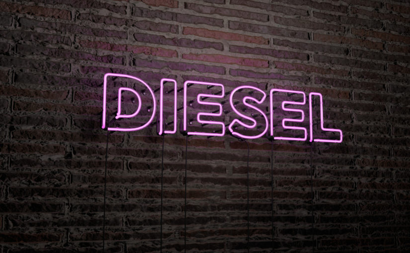 DIESEL -Realistic Neon Sign on Brick Wall background - 3D